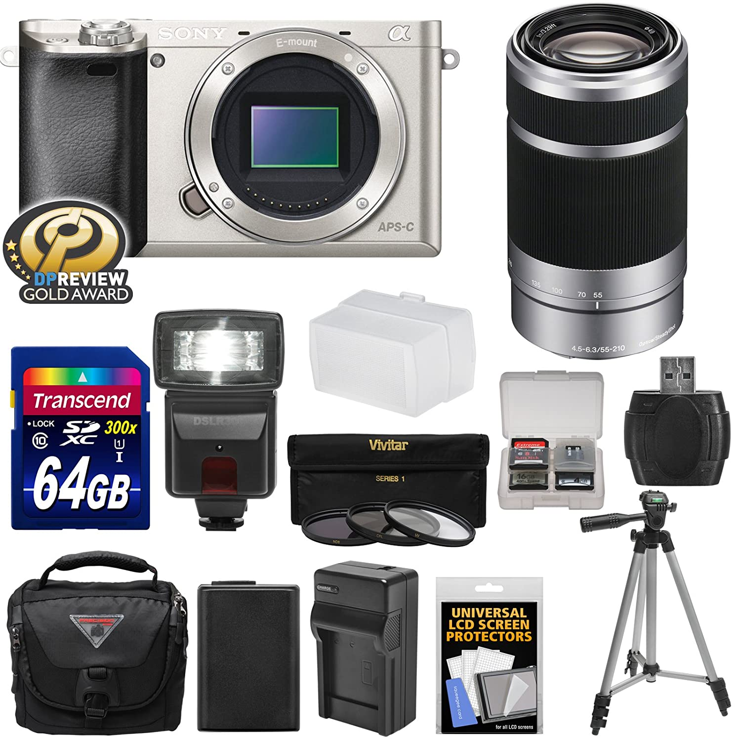 Sony Alpha A6000 Wi-Fi Digital Camera Body (Silver) with 55-210mm Lens + 64GB Card + Flash + Case + Tripod + Battery & Charger + Kit