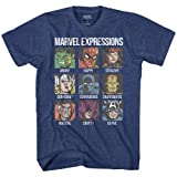 Avengers Expression Moods Spider-Man Hulk Thor Iron Man Black Panther Strange America Kids Youth Graphic Tee T-Shirt (Navy Heather, Large (18)) (Color: Navy Heather, Tamaño: Large (18))