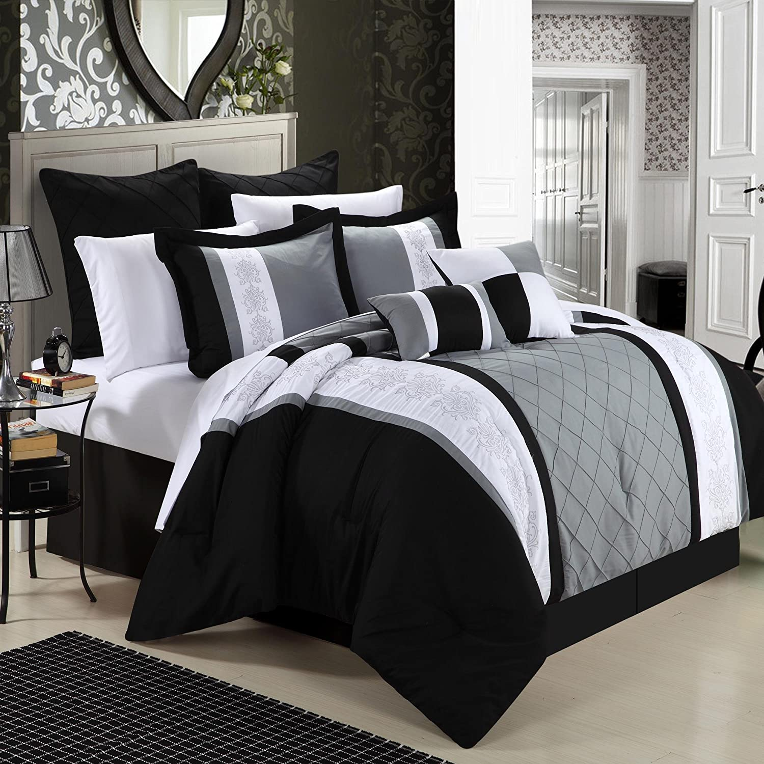 This is a Black Gray 8-Piece Embroidery Comforter Set. It is oversized ...