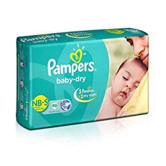 Image result for Pampers Baby Dry Diapers NB-Small Size (46 Count)