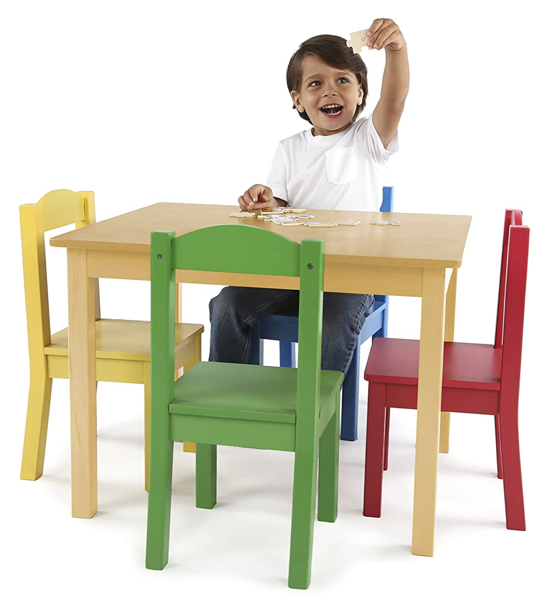 American Kids 5 Piece Wood Table And Chair Set Multiple: Tot Tutors Kids Wood Table And 4 Chairs Set, Natural