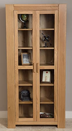 Kuba Hand Crafted Solid Oak Glass Display Cabinet Unit (80 x 40 x 190 cm)