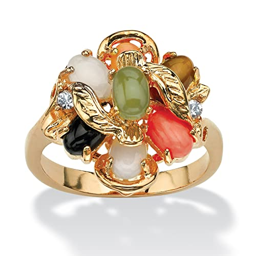Oval-Shaped-Coral-Opal-Jade-Onyx-and-Tiger-s-Eye-Cluster-Ring-in-14k-Gold-Plated