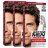 Just For Men AutoStop Men's Comb-In Hair Color, Medium Brown (Pack of 3) (Color: Medium Brown, Tamaño: Pack of 3)