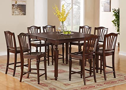 East West Furniture CHEL7-MAH-W 7-Piece Counter Height Dining Table Set