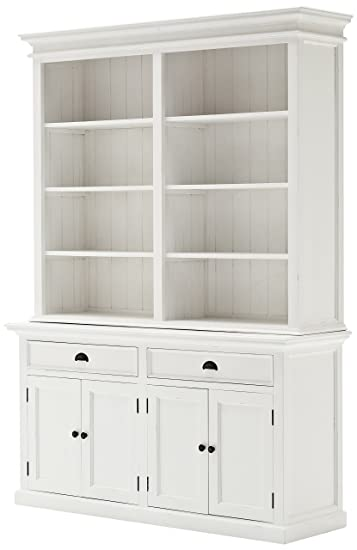 Nova Solo Hutch Bookcase Unit, Mahogany, White