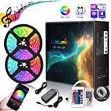 LuxLumin Music LED Strip Lights, WIFI Waterproof Dimmable 32.8ft 10m led light strip Color Changing led tape lights, Remote Control, APP control, Sync to Music, work with Amazon Alexa Google Assistant (Color: Multicolor, Tamaño: 32.8ft/10m)