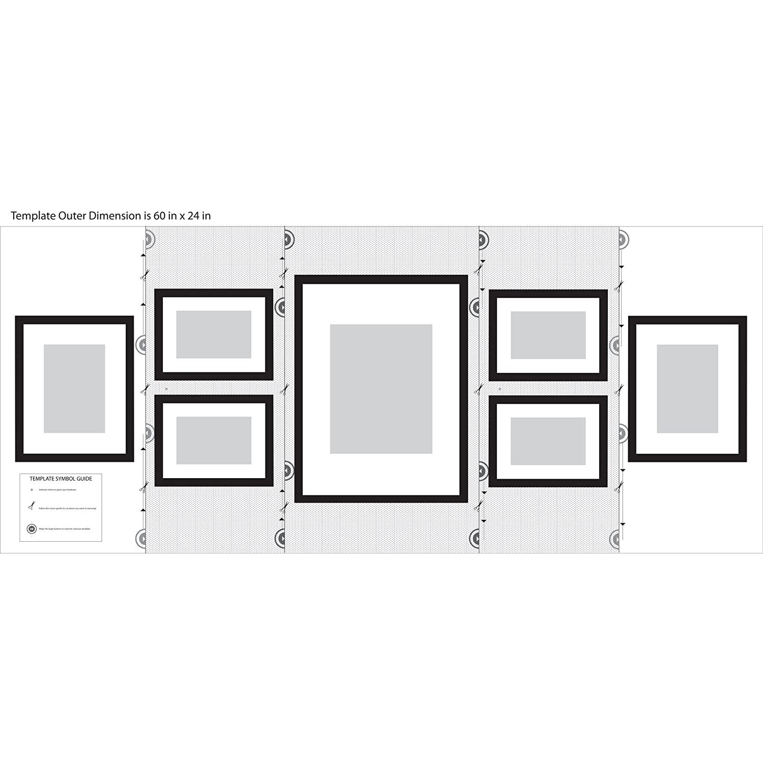 black solid wood 7 piece wall frame set with usable artwork includes 4 6x8 frames matted to 4x6 2 8x10 frames matted to 5x7 and 1 12x16 frame matted to