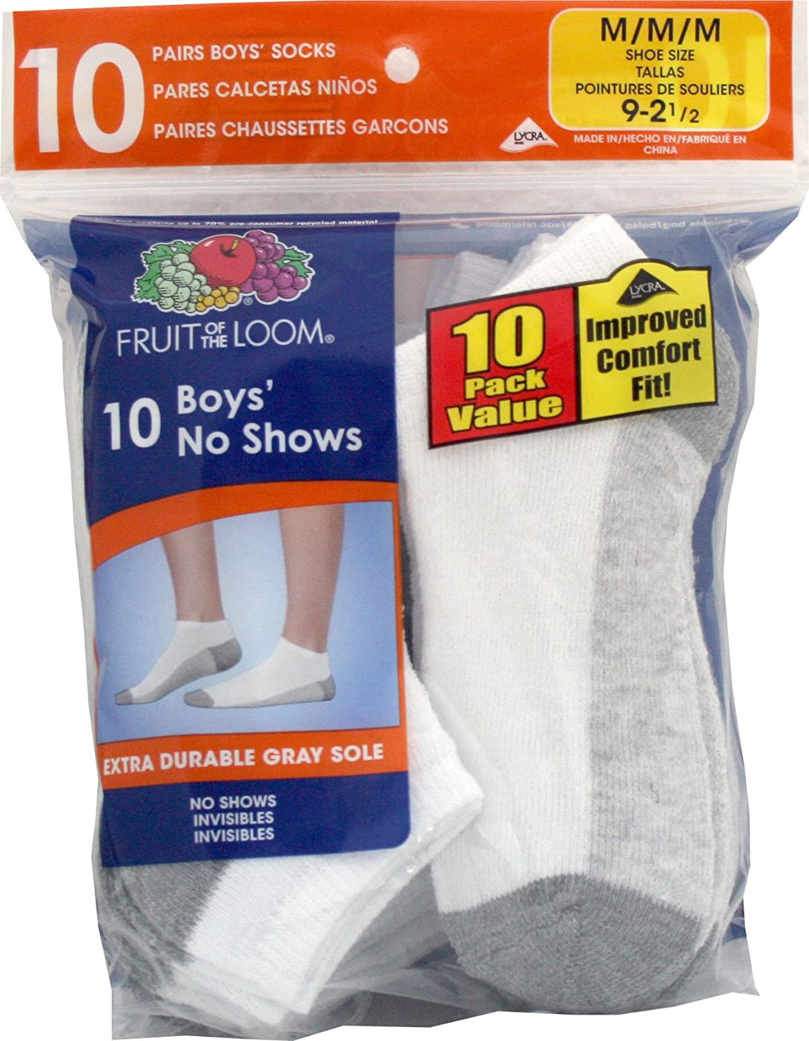 Fruit Of The Loom Big Boys'  No Show Socks divinare letizia 1156 02 lm 6