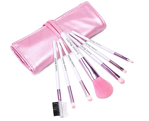 LOUISE MAELYS Two-tone 7pcs Makeup Brushes Cosmetic Kit PU Leather Roll Pouch Pink