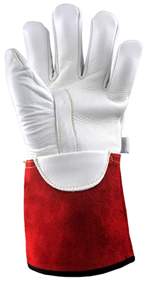 Stauffer High Voltage Cowhide Electrical Glove Protectors | 32 Cal/cm2 ATPV Rating, Red/White Color, Gauntlet Cuff - 3XL (Pack of 3) (Color: Red/White, Tamaño: 12/XXX-Large)