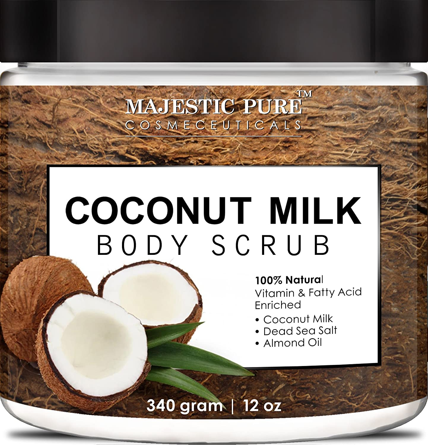 Coconut Milk Body Scrub from Majestic Pure is 100% Natural Scrub - Exfoliates, Moisturizes, Soothes and Promotes Glowing and Radiant Skin - 12 Oz