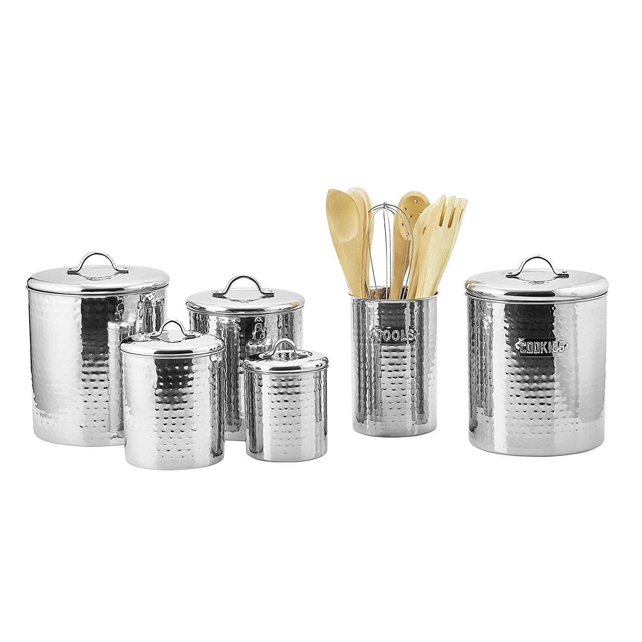Old Dutch Stainless Steel Hammered 4-Piece Canister Set 1