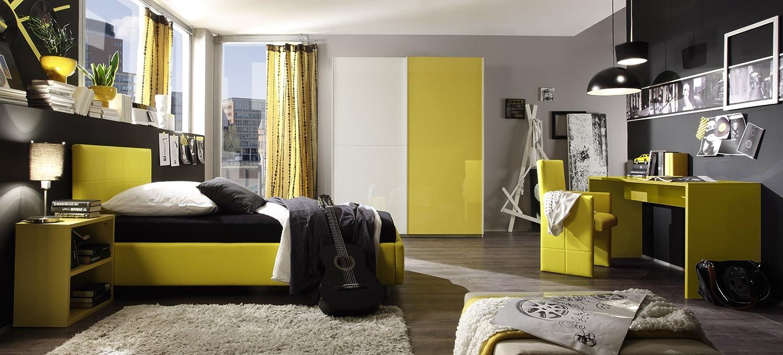 Jugendzimmer mit Bett 140 x 200 cm gelb/ weiss günstig online kaufen