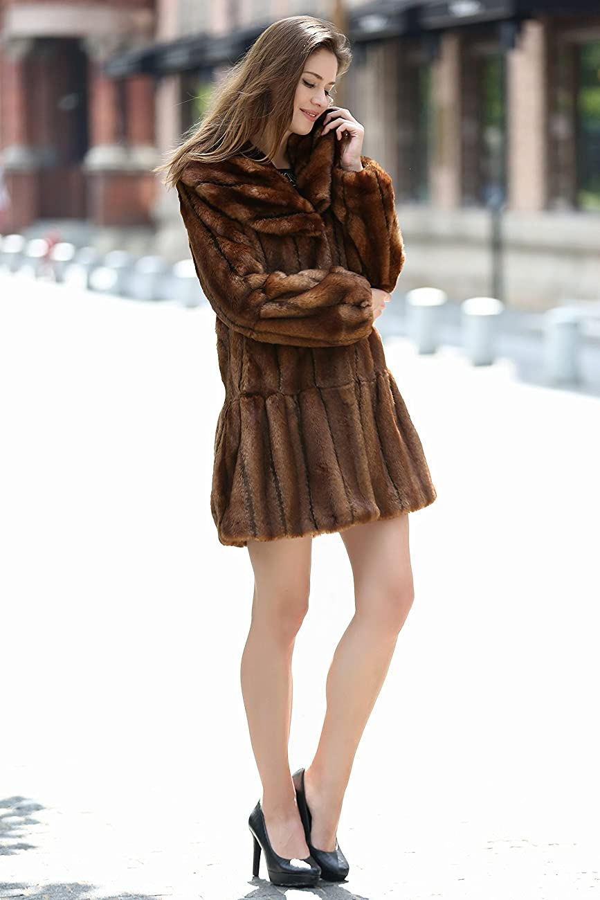 Adelaqueen Women's Vintage Style Luxury Faux Fur Coat with Lotus Ruffle Collar 2