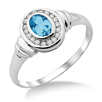 Miore Diamond and Blue Topaz Ring, 9 ct White Gold