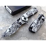 Zombie Skull Gothic White/black/gray Assisted Folding Pocket Knife; Auto Rescue