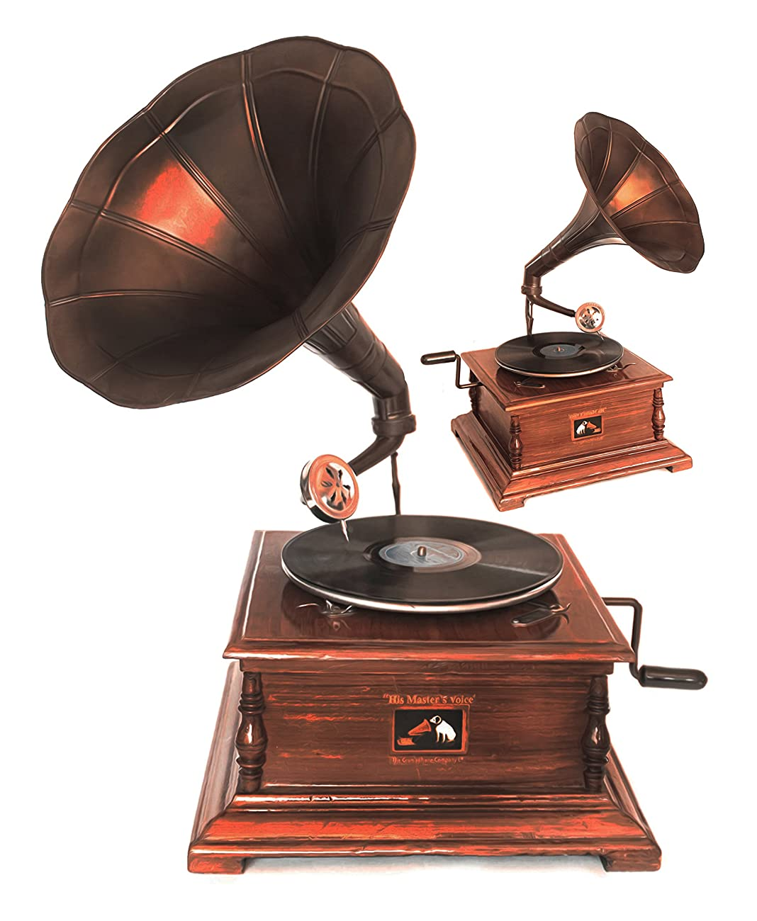 WinnerBrown Home Décor Metal Wood Brass Antique Finish Gramophone Record Player, 27 inch 4