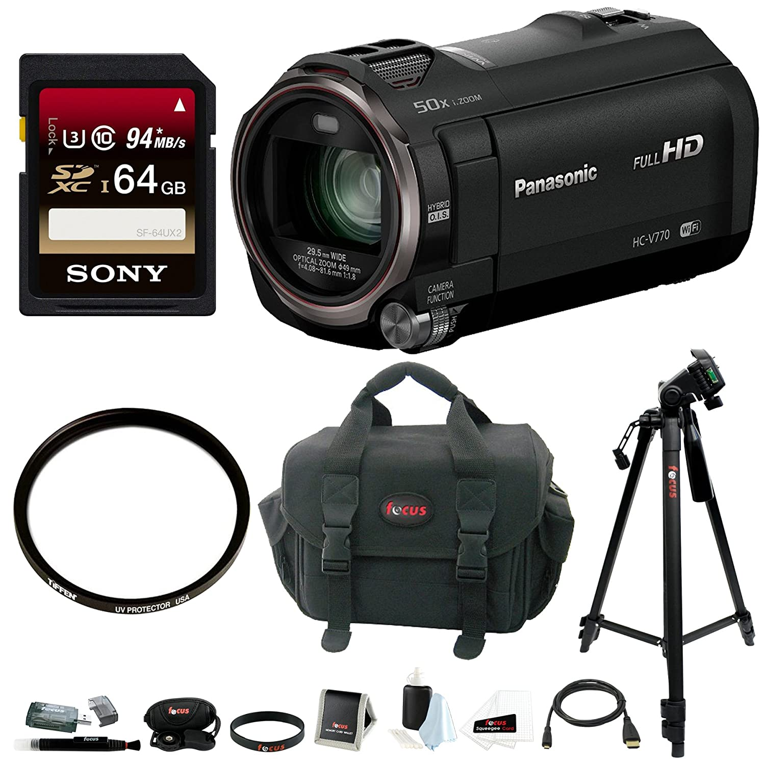 Panasonic HC-V770 HD Camcorder with Wireless Smartphone Twin Video Capture w/ 64GB SD Card & 49mm UV Filter Bundle