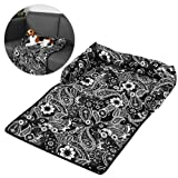 Petacc Cotton Pet Sleeping Mat Waterproof Pet Cushion Anti-slip Dog Bed Cover Ultra Comfortable Dog Sofa Pad, Suitable for Bed, Sofa and Floor, Black-and-white Flowers Printing
