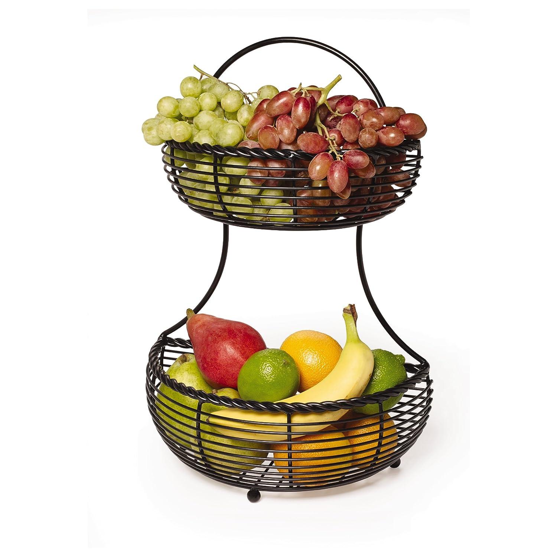2 Tier Fruit Basket Countertop Kitchen Storage Holder