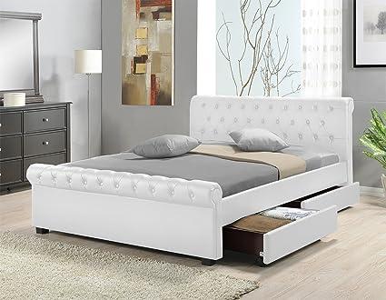 Doppelbett Polsterbett Bettgestell Bett Lattenrost Kunstleder (Weiß, 160x200cm)