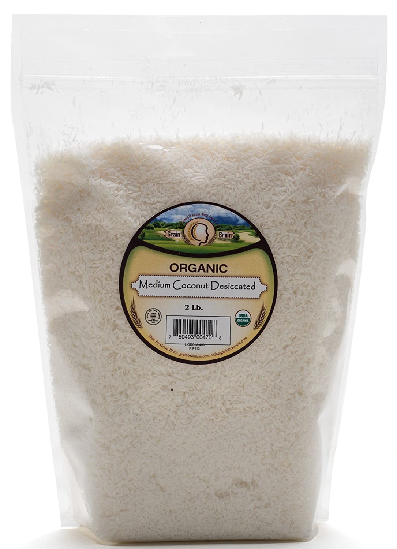 Grain Brain Organic Medium Shredded Coconut (2 lb) Unsweetened, Sulfate free, Gluten Free