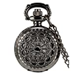 Mudder Hollow Cover Pocket Watch for Women Valentine's Day Gift (Black) (Color: Black)