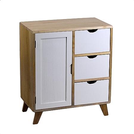 Cajonera armario de madera con 3 cajones y 1 puertas combinando los colores blanco de los cajones y el color natural de la estructura
