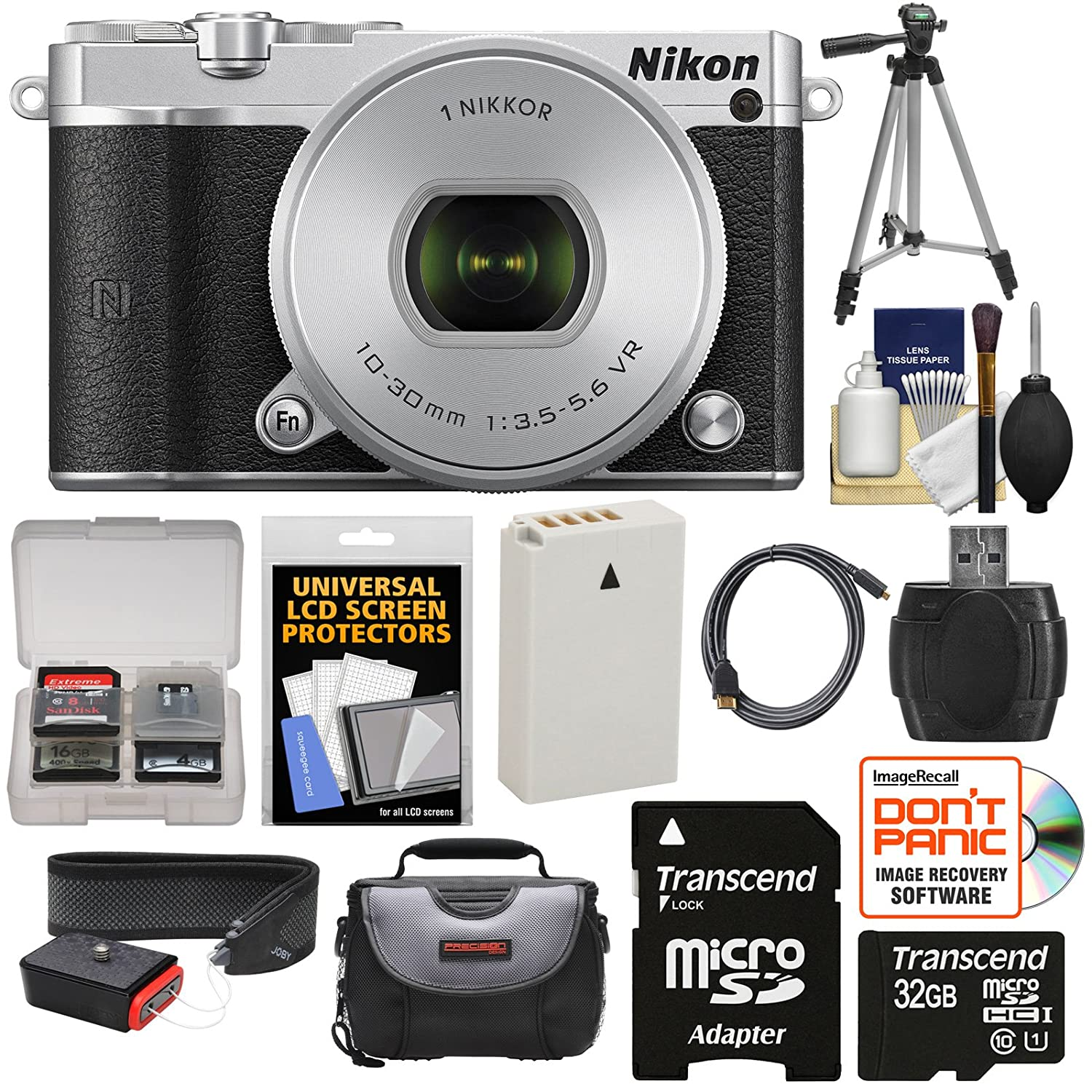 Nikon 1 J5 Wi-Fi Digital Camera & 10-30mm Lens (Silver) with 32GB Card + Battery + Strap + Case + Tripod + Kit