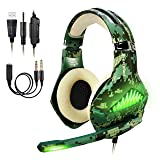 BlueFire Upgraded Professional PS4 Gaming Headset 3.5mm Wired Bass Stereo Noise Isolation Gaming Headphone with Mic and LED Lights for Playstation 4, Xbox one, Laptop (Camo) (Color: Camo)