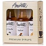 Amoretti Premium Classic Syrups 50ml 3 Pack (French Vanilla, Caramel, Hazelnut) (Tamaño: 50ml 3 Pack)