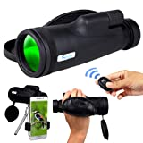 Monocular Telescope for Smartphone, HD 12x50 Zoom Compact Handheld Monoscope, High Power BAK4 Prism Monocular Scope with Tripod, Cell Phone Adapter Mount Holder, Monoculars for Adults & Bird Watching (Color: Black Monocular Telescope w/ Tripod, Phone Adapter, Tamaño: 12x50 BAK4 Prism)