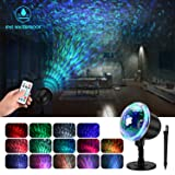 Water Wave Christmas Light Projector, KINGWILL Waterproof LED Projector Night Light with Ripple RGB 3D Water Effect, Remote Control Holiday Projector for Christmas Wedding Party Holiday Disco (Color: Multi-colored)