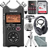 Tascam DR-40 4-Track Handheld Digital Audio Recorder with Microphone Shockmount, Dedicated Windscreen, Along with Platinum Accessory Bundle Fibertique Cleaning Cloth (Tamaño: Platinum)