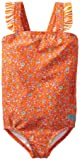 Roxy Girls 2-6X Sand Blossom Ruffle One Piece Swimsuit, Orange, 4