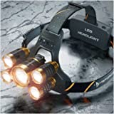 MsForce Newest and best Headlamp,Xtreme bright 5 LED head lamp provides 2500 lumens, USB Rechargeable headlamp flashlight,maximum comfort,Adults Head lamps for Camping and hunting, hard hat Headlight
