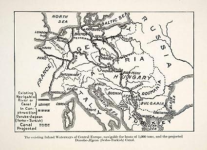 European Map 1910 1910 Print Map Inland Waterway