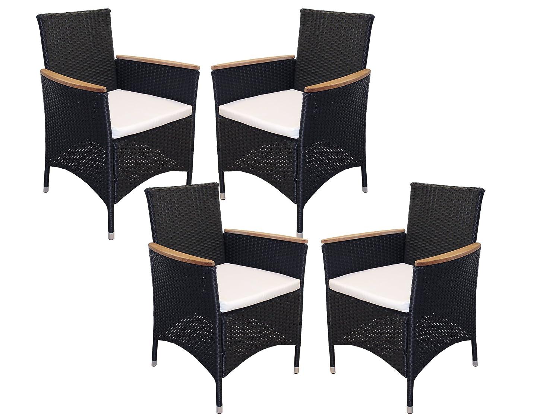 Ambientehome Polyrattan Stuhl Sessel Lubango, schwarz, 4-teiliges Set günstig kaufen