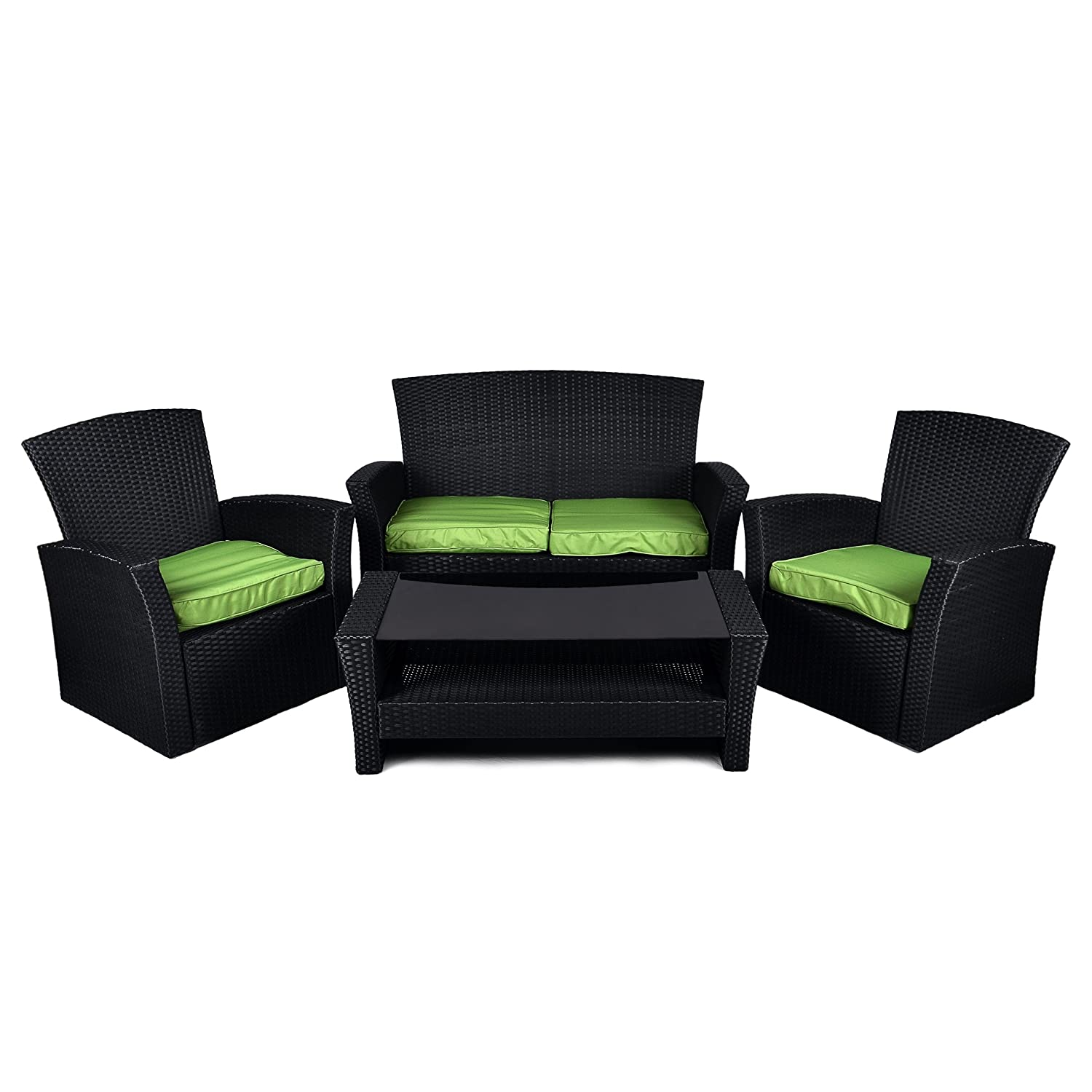 rattan set 4tlg mit glastisch gr n garnitur gartenm bel lounge. Black Bedroom Furniture Sets. Home Design Ideas