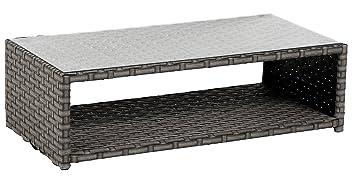 Table basse rectangulaire en résine tressée avec plateau de verre trempé - Dim : L 120 x P 60 x H 36 cm - PEGANE -
