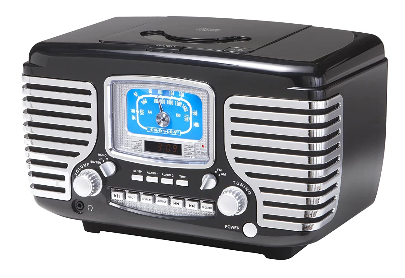 Crosley CR612-BK Corsair Retro AM/FM Dual Alarm Clock Radio with CD Player, Black 0