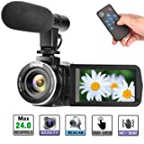 Camcorder Digital Video Camera, Digital Camera Full HD 1080P 30FPS 3'' LCD Touch Screen Vlogging Camera with External Microphone and Remote Control (Color: C09)