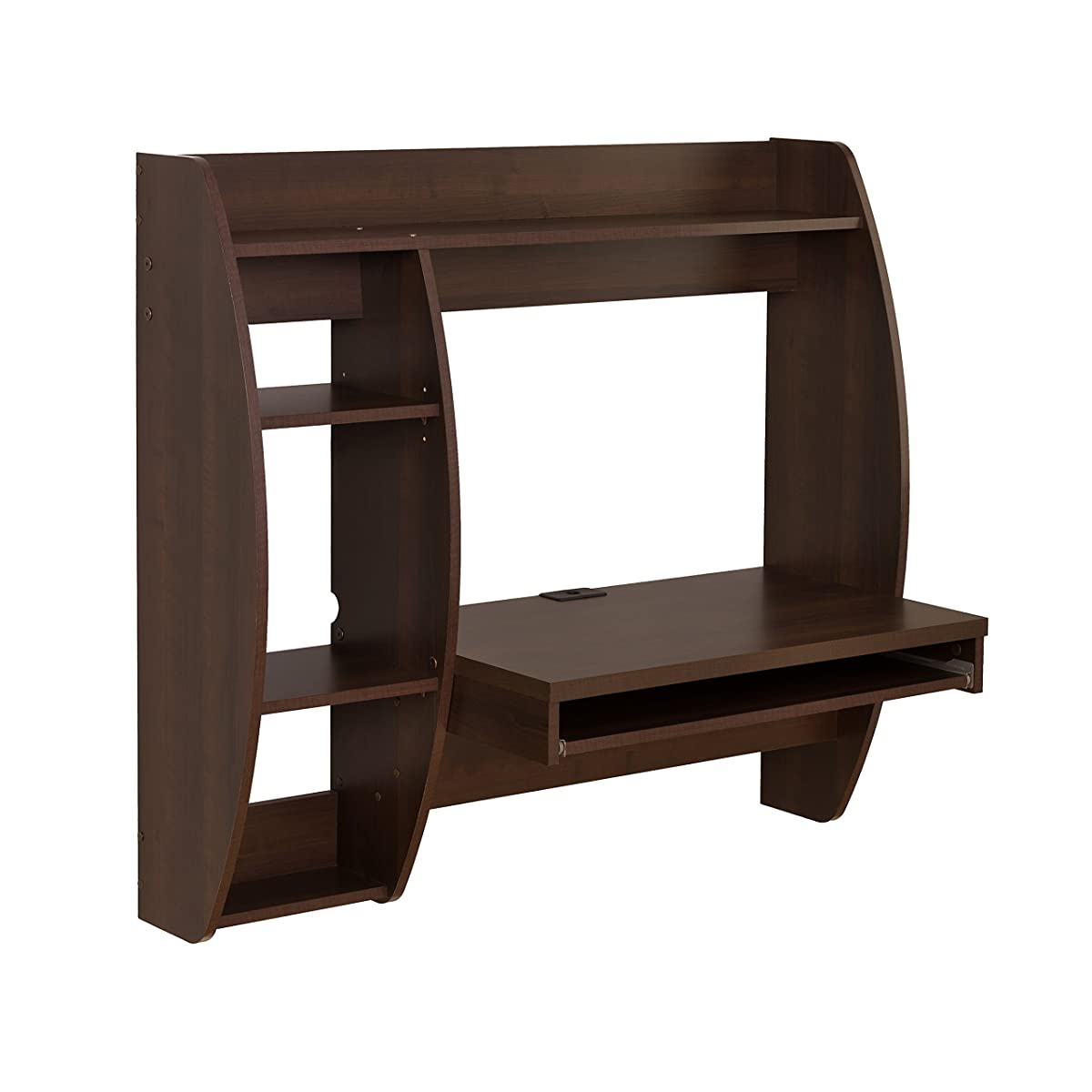 Prepac Floating Desk with Storage and Keyboard Tray, Espresso