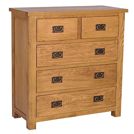 Rustic Saxon Oak 2 +3 Chest of Drawers