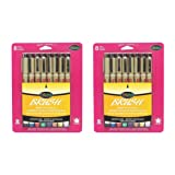 Sakura 38062 8-Piece Pigma Assorted Colors Brush Pen Set, Pack 2 (Tamaño: Pack 2)
