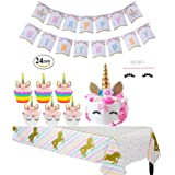 Unicorn Party Supplies Cupcake Toppers Wrappers Double-Side Kids Party Cake Decorations, Handmade Gold Unicorn Horn Cake Topper with Eyelashes, Happy Birthday Rainbow Bunting Banner Sparkle Tablecloth