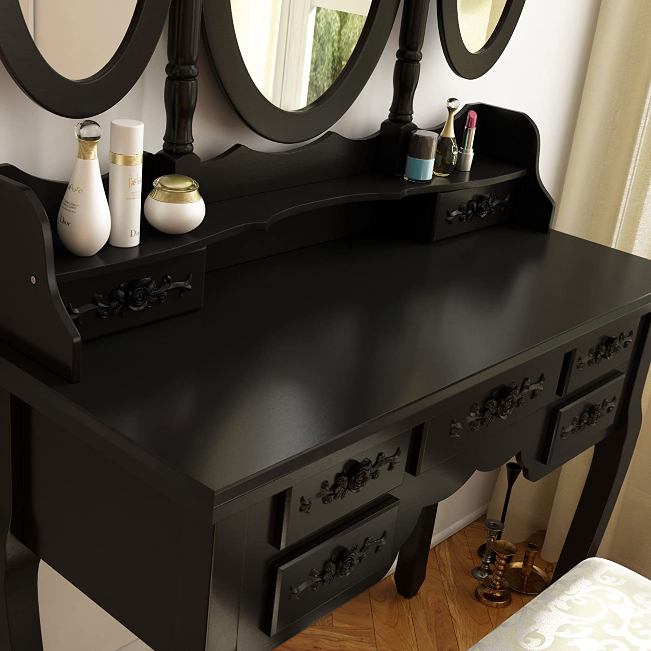 Tribesigns Vanity Makeup Table Set with Stool and Mirror (3 Mirror + 7 Drawer) 3