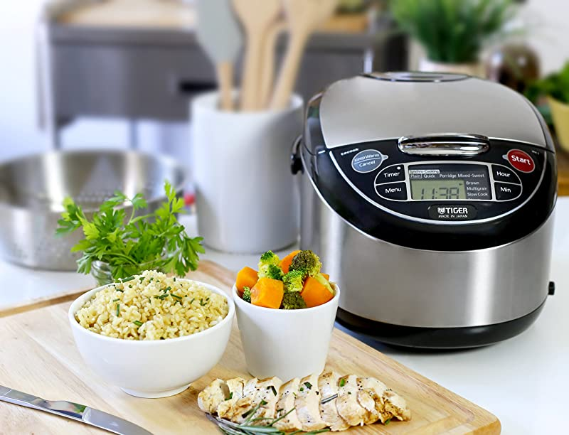 Tiger JAX-T10U-K 5.5-Cup (Uncooked) Micom Rice Cooker with Food Steamer & Slow Cooker, Stainless Steel  via Amazon