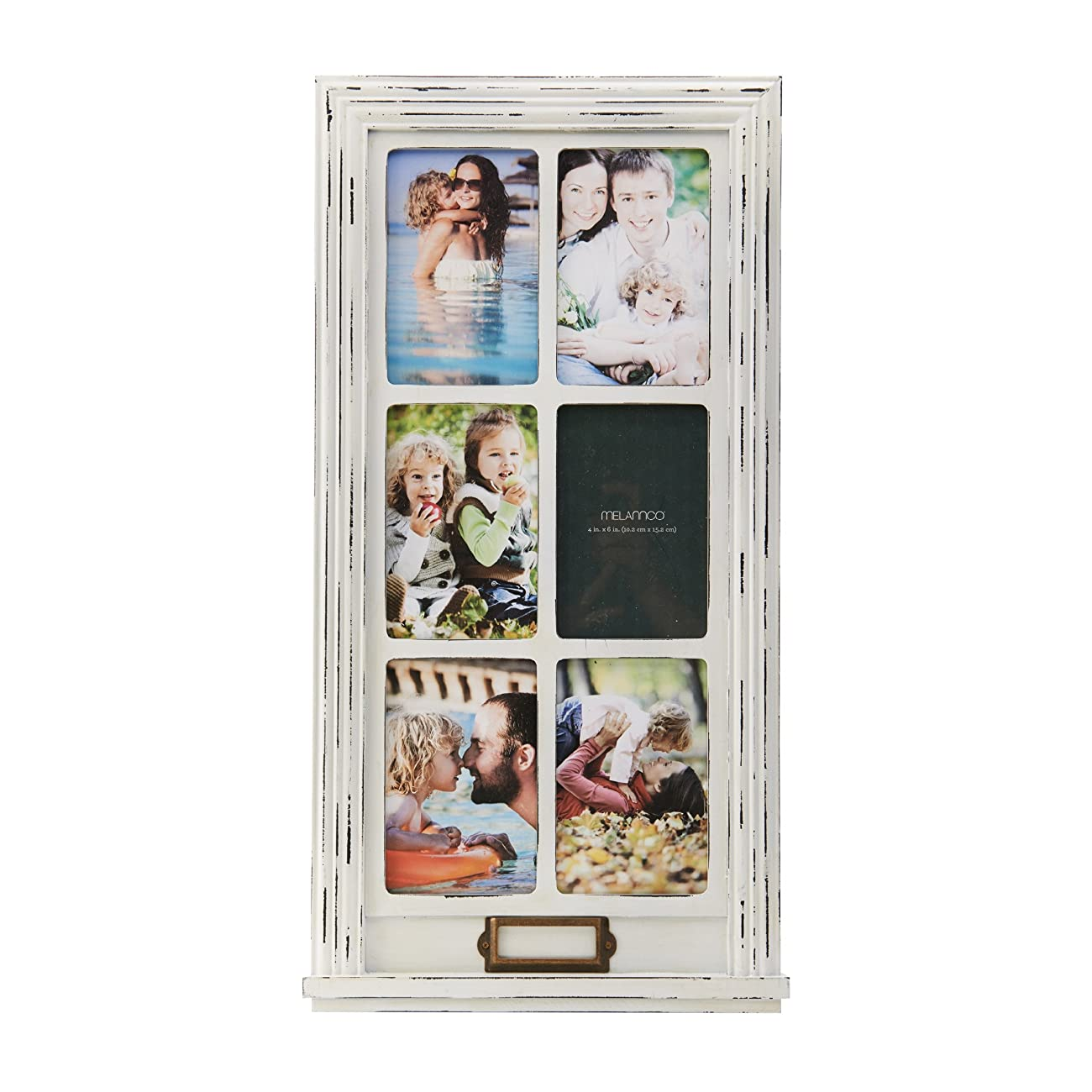 Melannco 6-Opening Distressed Window Collage (White, 11.3x0.75x21.85-Inch) 0